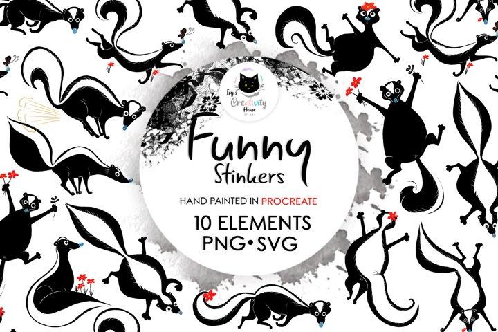 Funny Stinker Skunk Animal Clipart | Animal Sublimation PNG