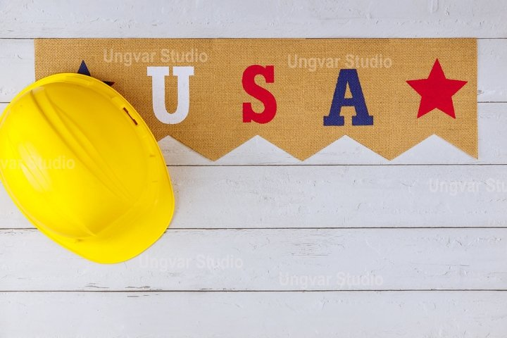 USA in the yellow helmet Happy Labor day american patriotic