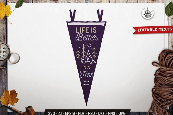 Camping SVG Emblem Vector Retro Tent Pennant Logo PNG