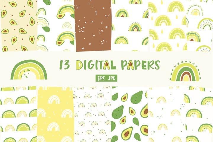 Rainbow digital paper, Avocado Paper pack, Seamless Patterns