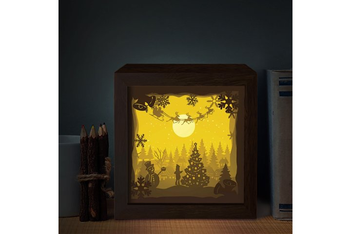 SANTA CABIN 3D Paper Cutting Light Box - Shadow Box