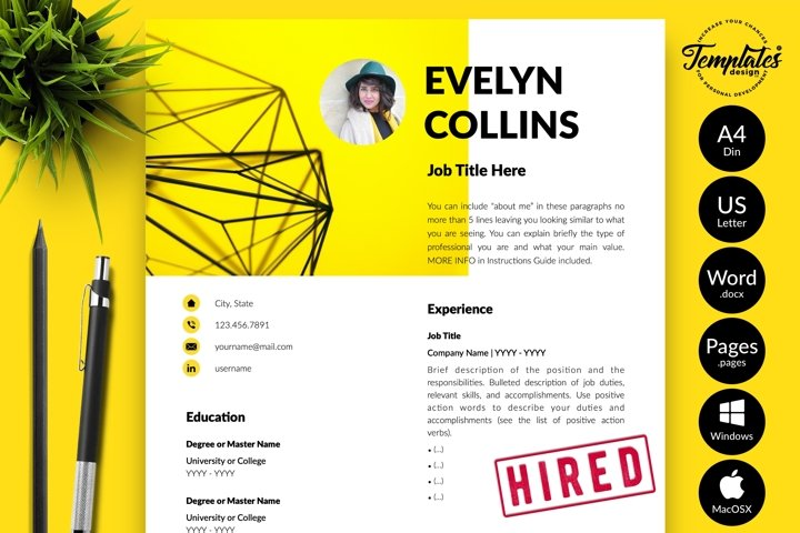 Modern Resume CV Template for Word & Pages Evelyn Collins