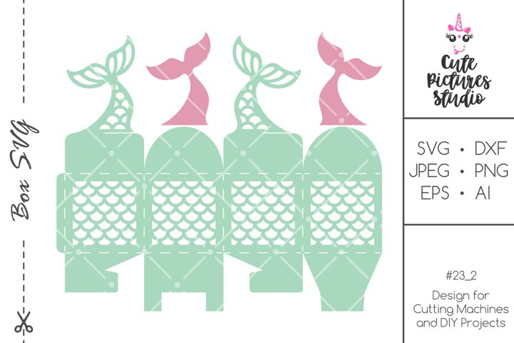 Mermaid Tail Party Favor Box SVG template