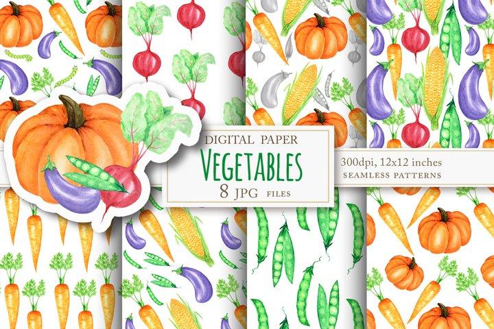 Vegetables watercolor patterns - Healthy Vegan Food