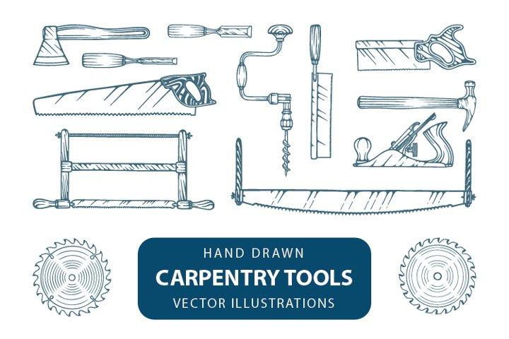 Carpentry tools illustrations.