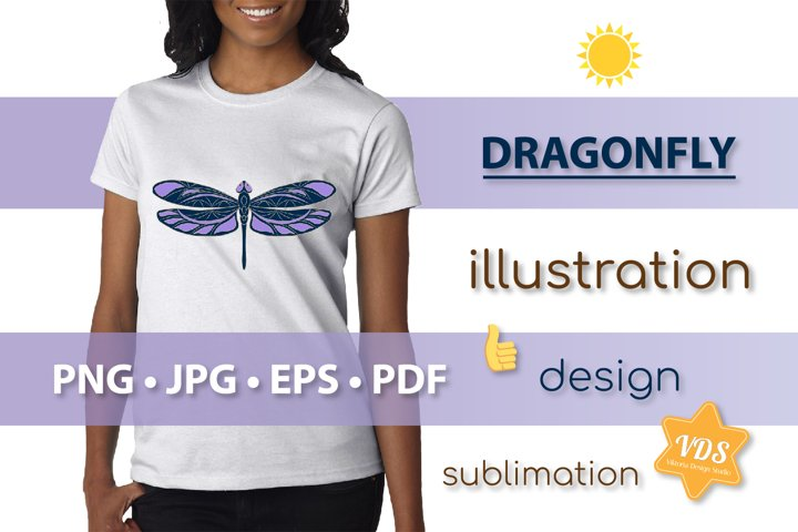 Colorful Dragonfly_Vector Illustration_Sublimation_Print_3