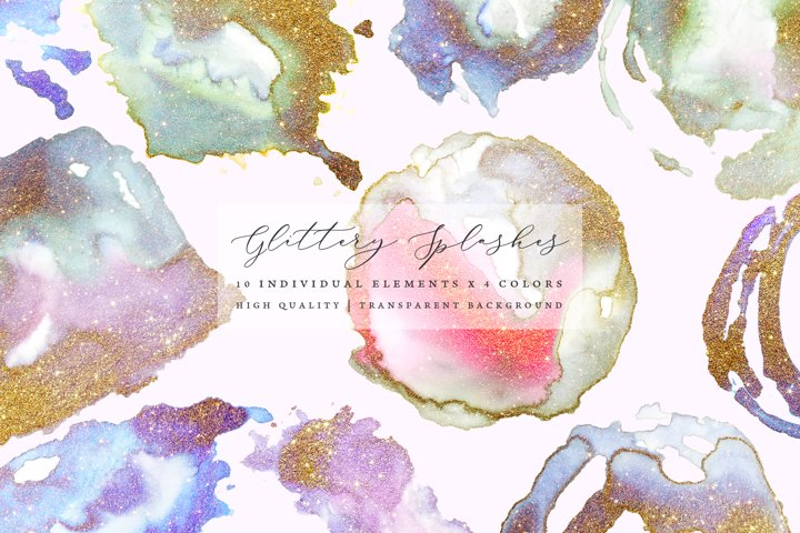 Gold glitter watercolor shapes, gold watercolor frames
