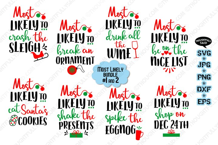 Funny Most Likely Christmas #1 & 2, SVG JPG PNG EPS DXF