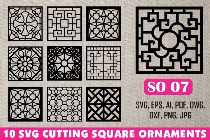 SO 07, 10 SVG CUTTING SQUARE ORNAMENTS