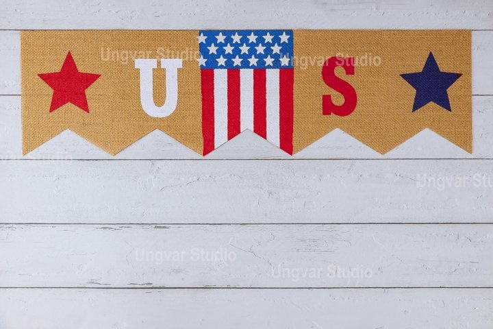 US. sign decorated letter with patriotism federal holiday