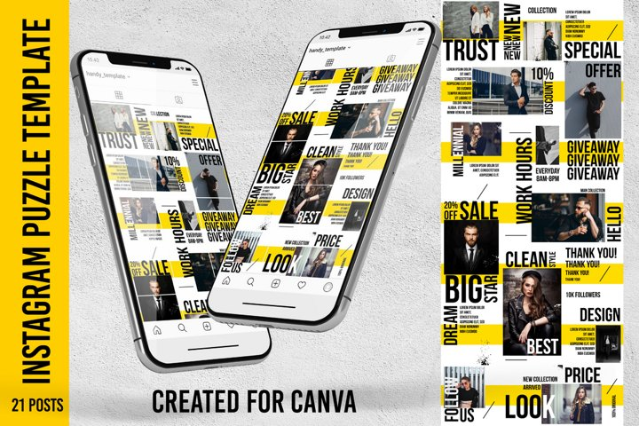 Urban Style Instagram Puzzle feed template. Canva template