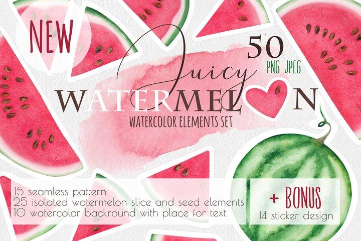 Watercolor ripe watermelon illustration set clipart