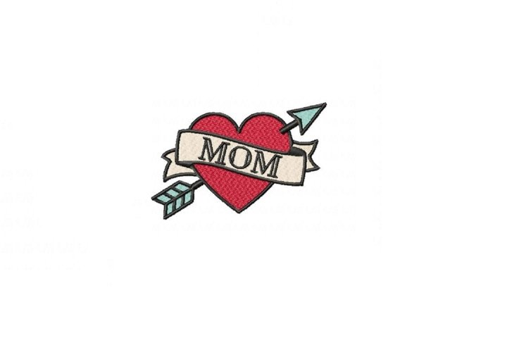 Happy Mothers Day Mom Tattoo - 4 x 4 hoop