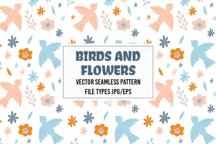 Vector seamless pattern with birds and flowers. Jpg/Eps