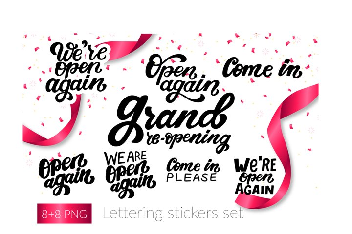 Reopen, we are open, come in. Lettering stickers