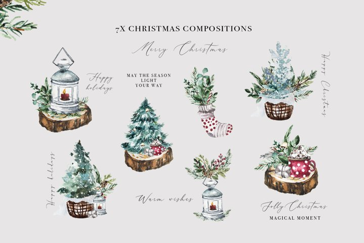 Watercolor Christmas Clipart Christmas PNG Graphics Holiday