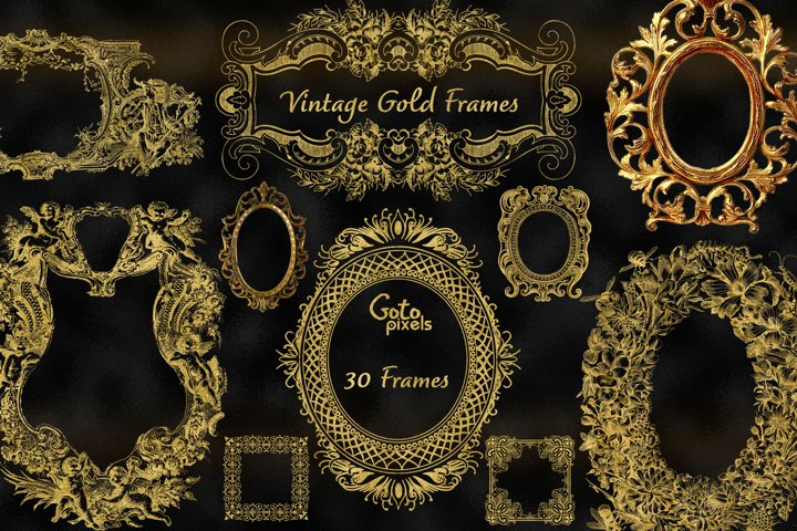 Old Gold Frames Clipart - vintage antique ornamental frames