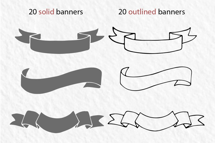 20 hand-drawn ribbons, banners - Free Design of The Week Design0