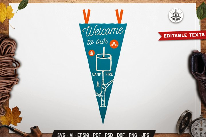 Camping SVG Badge Vector Retro Pennant Graphic Logo PNG