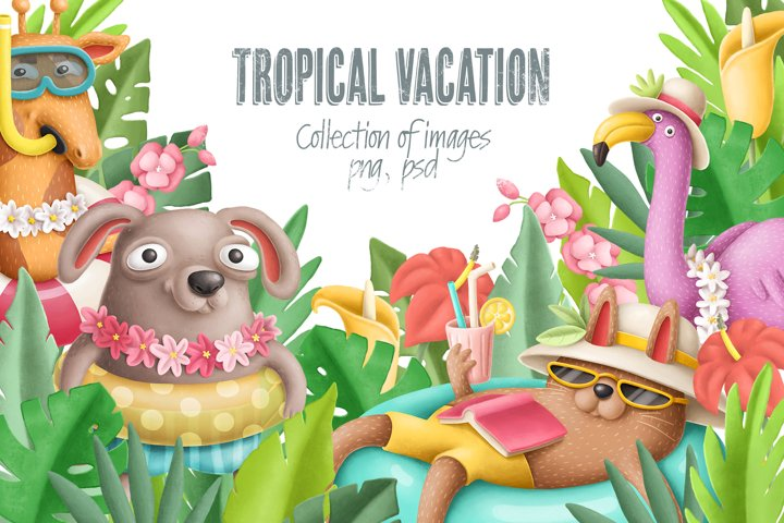 Tropical vacation graphic set