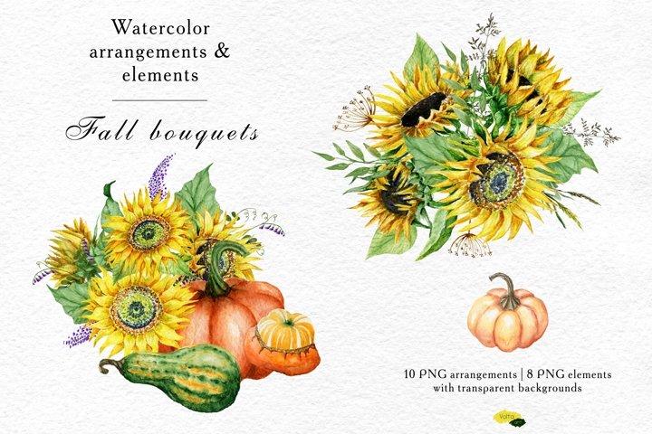 Watercolor Sunflower and Pumpkins arrangements, PNG elements