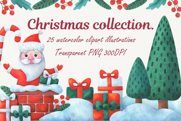 Merry Christmas. Collection of watercolor clipart