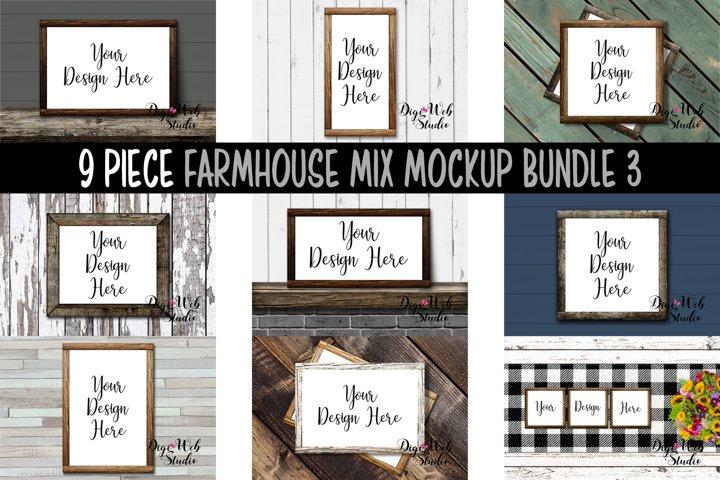 Wood Signs Mockup Bundle - 9 Wood Frames Farmhouse Mix 3