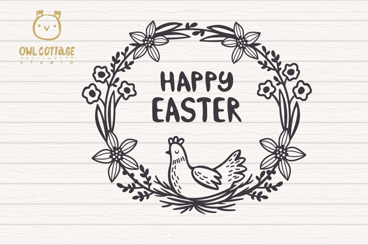 Easter Wreath with Hen svg, Easter Floral Monogram, Easter example 1
