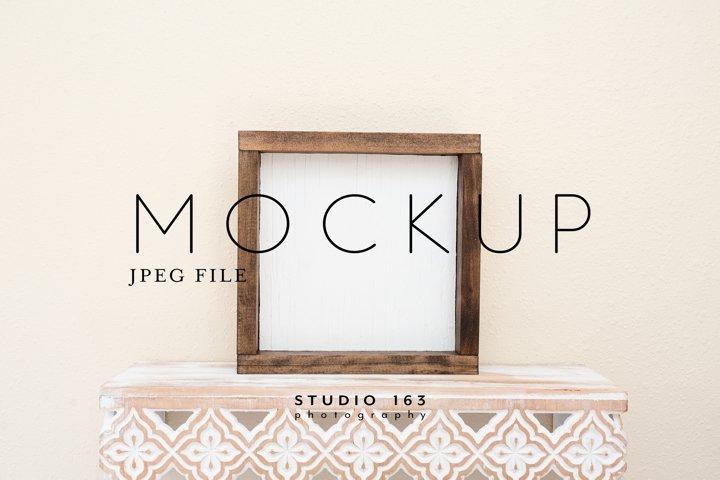 8x8 Wood Sign Mockup, Wood Frame Photo, JPEG