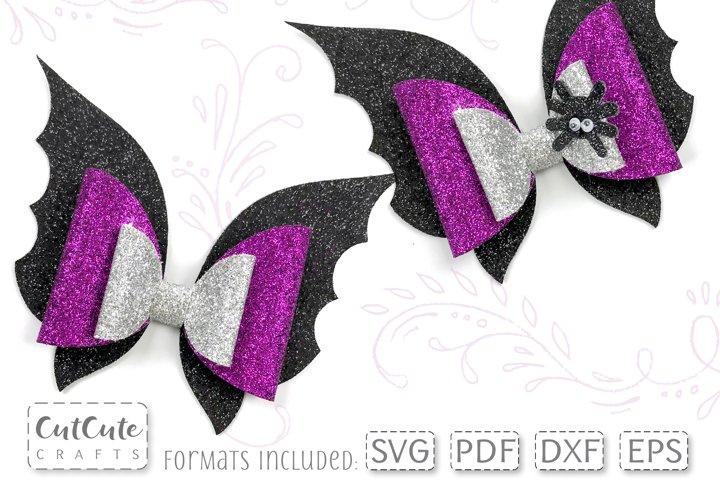 Halloween Bat Wings Hair Bow SVG template