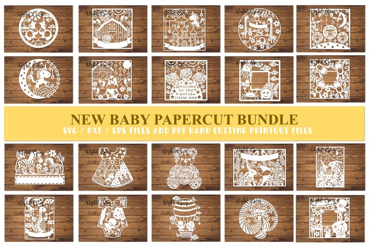 New baby paper cut Bundle. SVG / DXF / EPS files