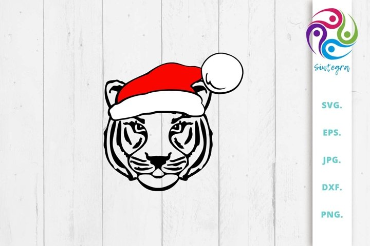 Tiger With Christmas Hat Svg File