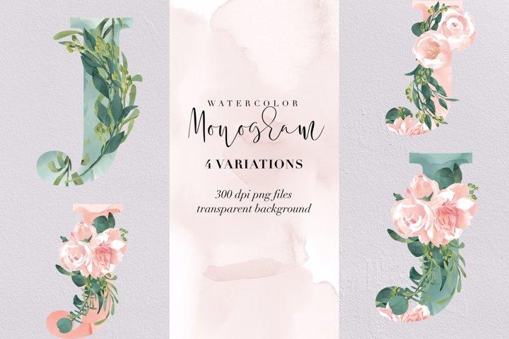 Letter J watercolor monogram, floral monogram PNG, flowers