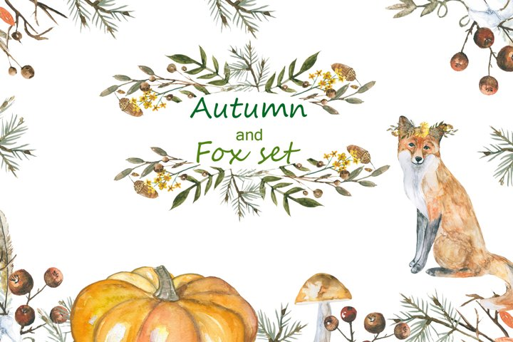 Autumn and foxes animals set