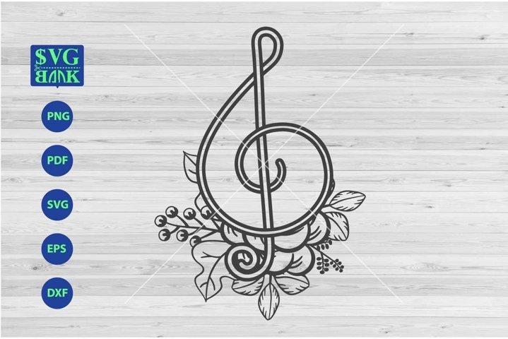 Music Symbol SVG, G-Clef With Flower SVG Cut File