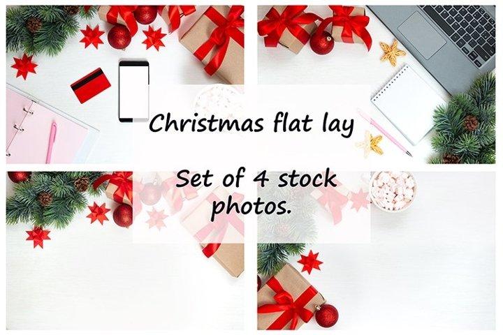 Christmas flat lay. Set of 4 stock photos.