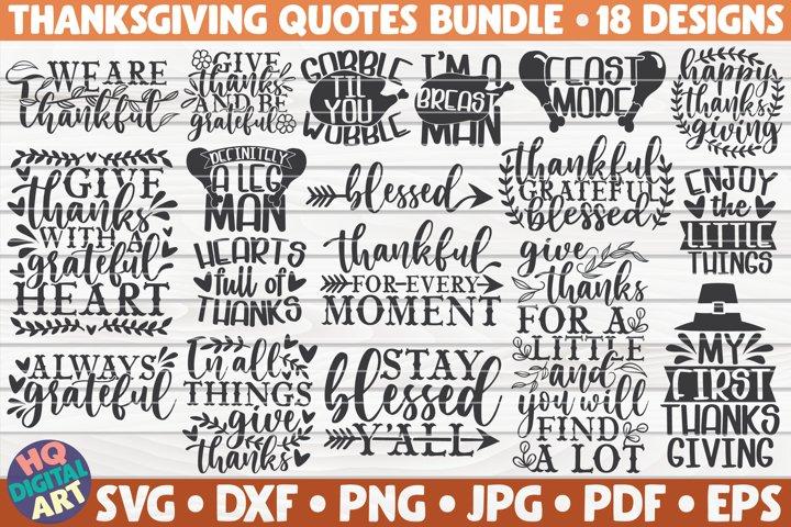 Thanksgiving Quotes SVG Bundle | 18 designs
