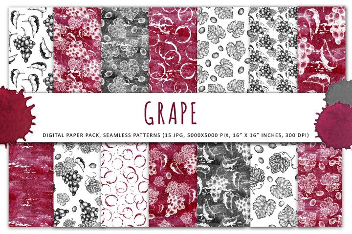 Bunch of grapes digital papers, graphics textured watercolor
