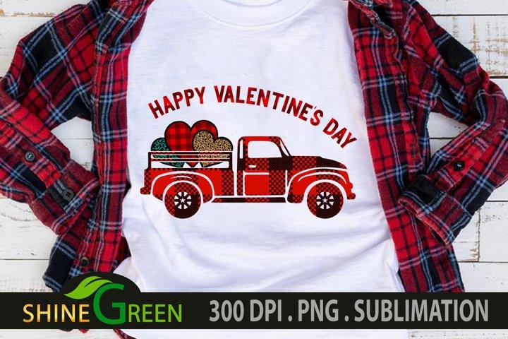 Valentine Sublimation Buffalo Plaid Truck, Hearts