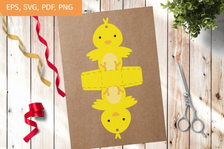 Cute Gift Package Chicken Template SVG, Gift Box SVG