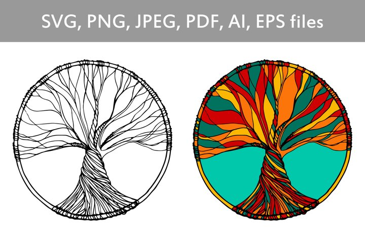 Tree of life hand drawn illustration in vector