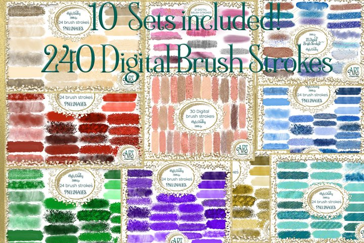 10 Set Bundle One-240 digital brush strokes graphics clipart