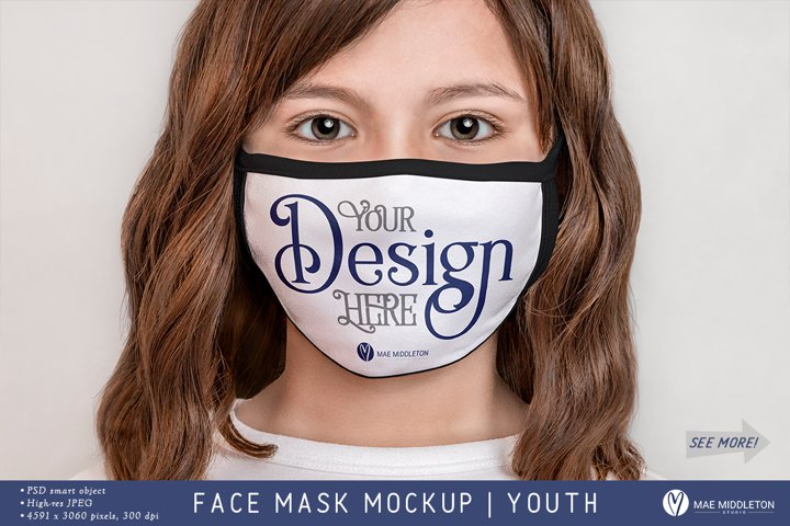 Face Mask with black edges | psd & jpg Mockup