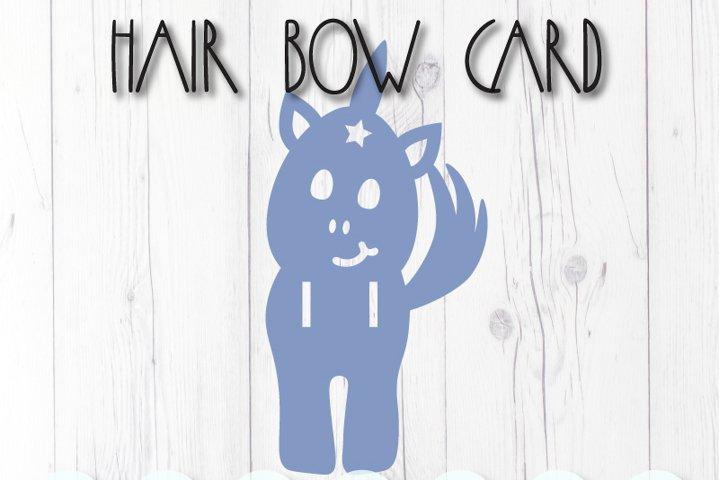 Unicorn display card for hair bow clip