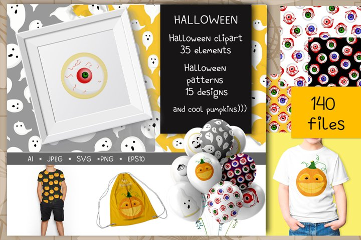 Halloween big set svg jpeg png ai eps10 patterns and clip ar