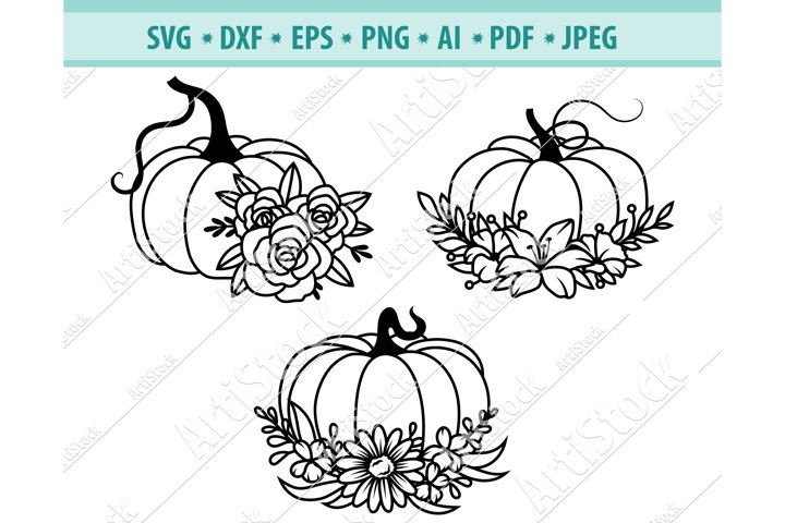 Floral Pumpkin SVG, Flower wreath Png, Autumn Png ,Dxf, Eps