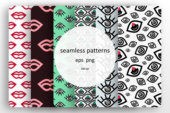6 seamless patterns with the fashionable design