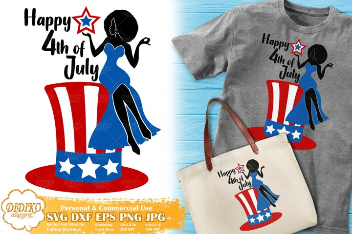 Black Woman 4th of July SVG | Afro Woman SVG | American Hat