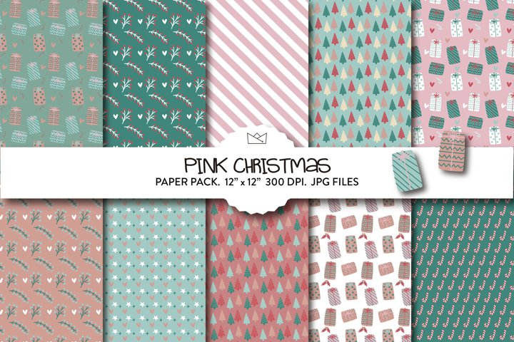 Pink christmas digital paper pack, christmas wrapping paper