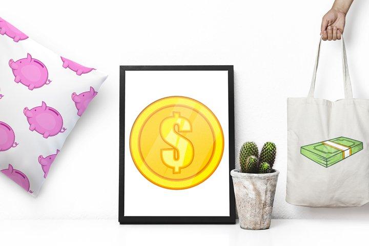 Finance icons set, cartoon style example 1